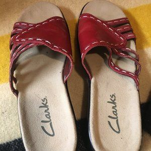 Red Clarks Slides, size 6.5 (Women's)